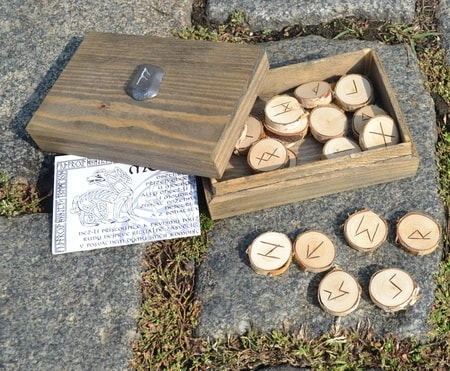 HAND MADE WOODEN RUNES with the box