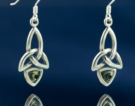 KIRA, EARRINGS, MOLDAVITE AND SILVER