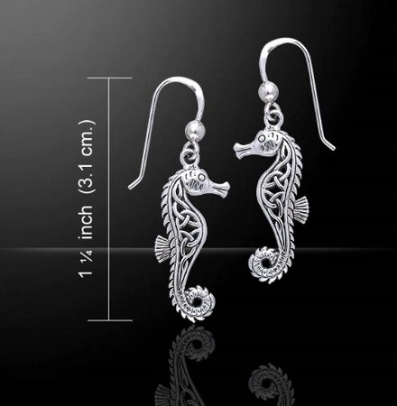 SEA HORSE, silver earrings, Ag 925