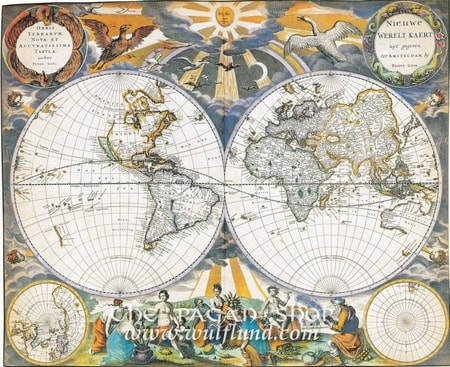 WORLD 1670, Pieter Goos, historical map, replica