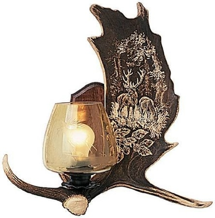 WALL ANTLER LAMP with carving