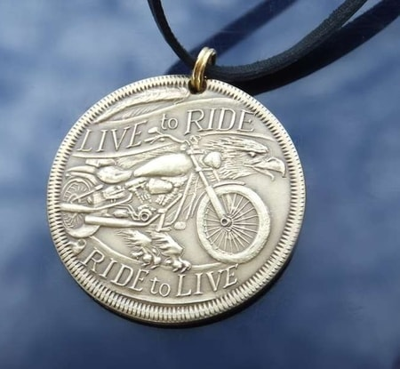 LIVE TO RIDE, MOTORCYCLE PENDANT