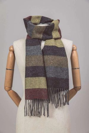 FALL THICK STRIPE SCARF, FOXFORD, IRELAND