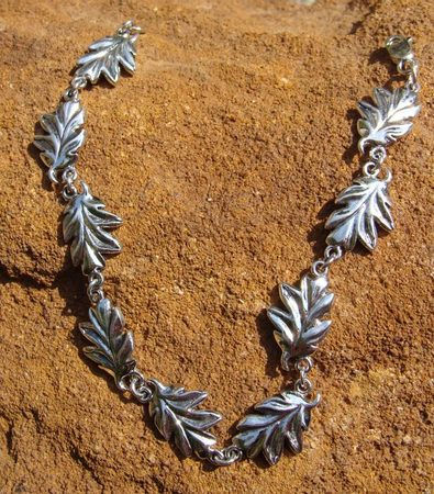 OAK LEAVES, silver bangle, Ag 925