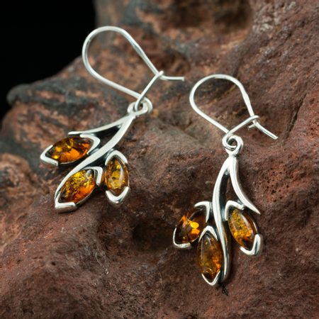 RENIA, amber, earrings, sterling silver