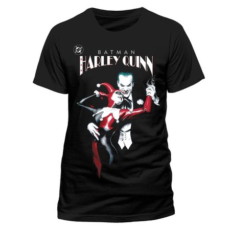 THE JOKER & HARLEY QUINN DANCING, BLACK UNISEX T-SHIRT