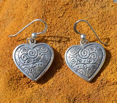 SILVER HEART EARRINGS, Ag 925