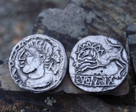 EVOIVRIX, celtic tetradrachm, replica