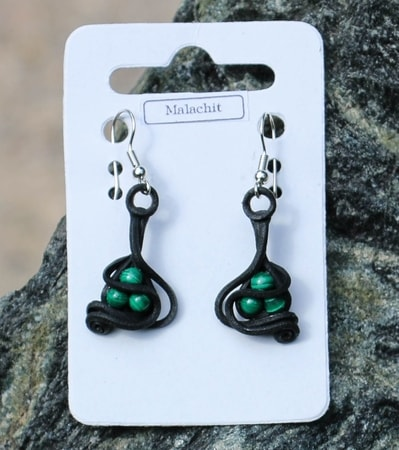 MALACHITE beads, earrings