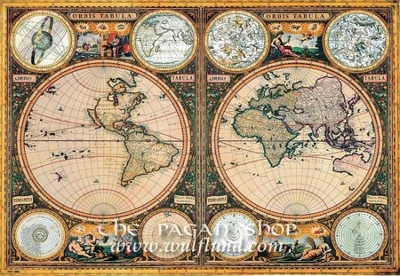 ORBIS TABULA, WORLD, POLES AND SPACE HISTORICAL MAP, REPLICA