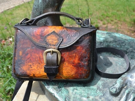 VOLCANO, leather shoulder bag