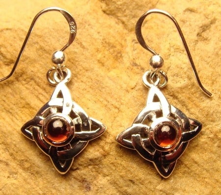SILVER JEWELS, CELTIC RAINBOW MOONSTONE EARRINGS