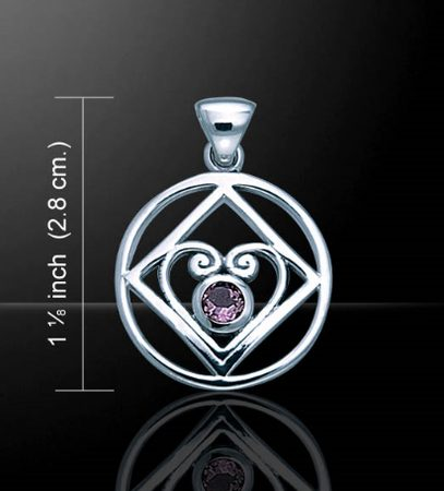 SILVER HEART with garnet, Ag 925