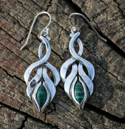 ELVISH EARRINGS, malachite, sterling silver