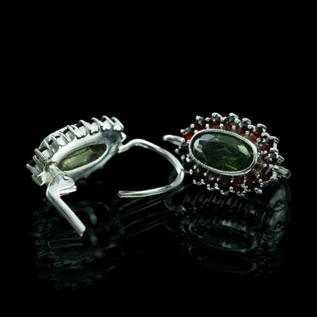 MORVAN, silver earrings, moldavite, garnet