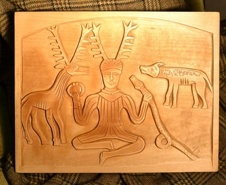 CELTIC HORNED GOD CERNUNNOS, HAND CARVED PLAQUE, GUNDESTRUP CAULDRON
