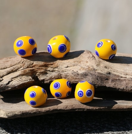 Celtic Glass Bead, yellow, replica