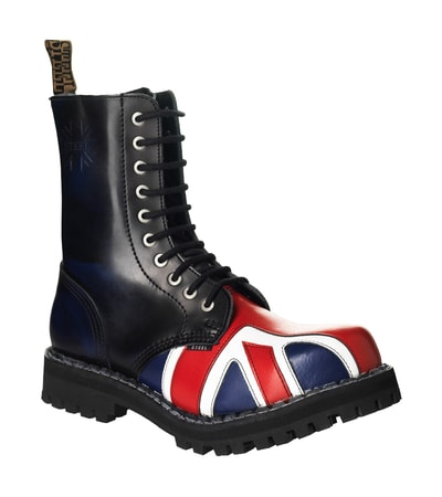 Leather boots STEEL British flag 10-eyelet-shoes