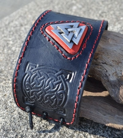 Valknut Leather Bracelet Wulflund Com