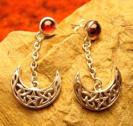 SILVER EARRINGS with pentacles