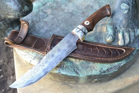damascus steel knife with meteorite