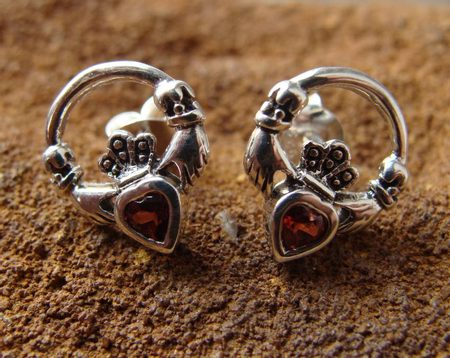Silver Claddagh Earrings with garnet