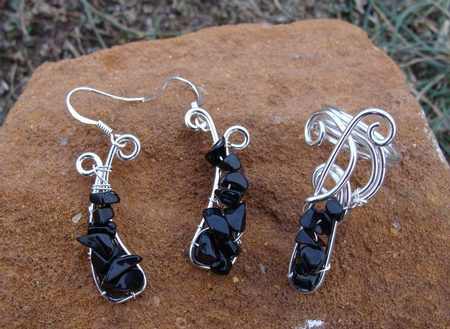 SILVERED ONYX SET - ring and earrings