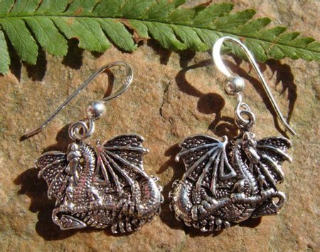 DRACO SPELAEUS, silver earrings, Ag 925