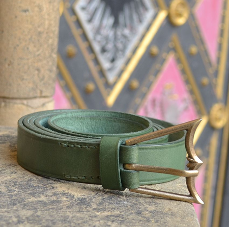 MEDIEVAL BELT, GREEN LEATHER