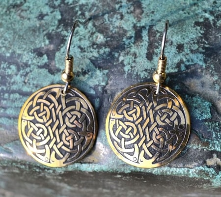 DOMHAN, BRASS EARRINGS, MADE IN IRELAND