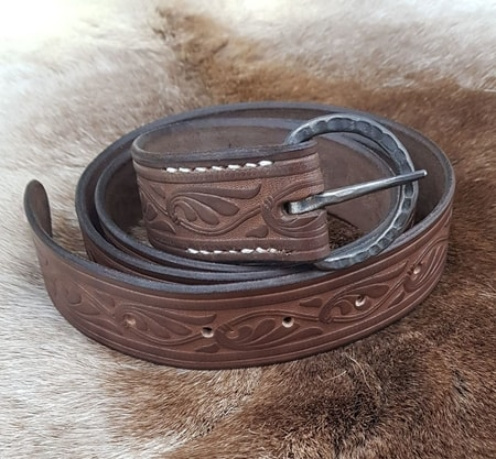 DECORATED LEATHER BELT, brown