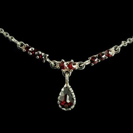 OSSIAN, garnet, Czech jewel, necklace