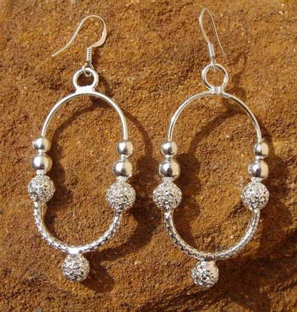 OLD SLAVIC EARRINGS, silver plated