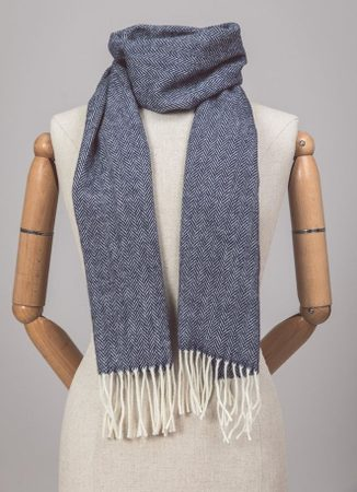 Navy Herringbone, lambswool scarf Ireland