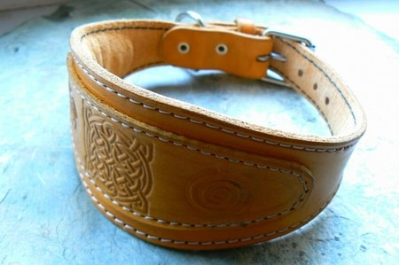 LEATHER DOG COLLAR FOR GREYHOUND, celtic motive