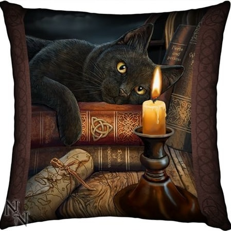 BLACK CAT, cushion by Lisa Parker