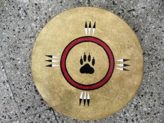 SHAMAN INDIAN DRUM, WOLF TRACK and EAGLE FEATHERS