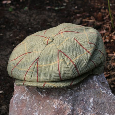 WOOL BLEND BAKER BOY HAT TWEED GREEN
