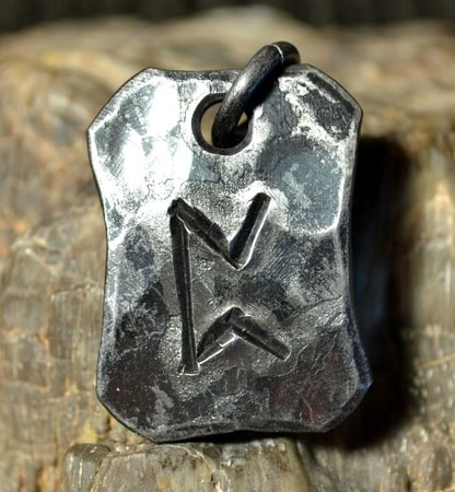 PERTHRO, forged iron rune pendant