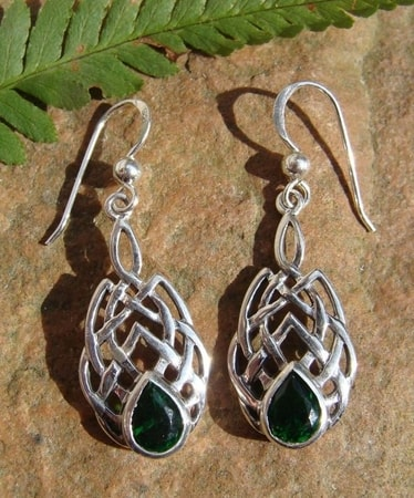 BOIOHAEMUM, silver earrings, green glass