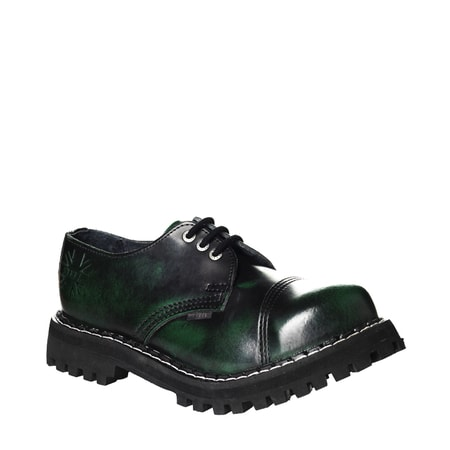 Leather boots STEEL green 3-eyelet-shoes