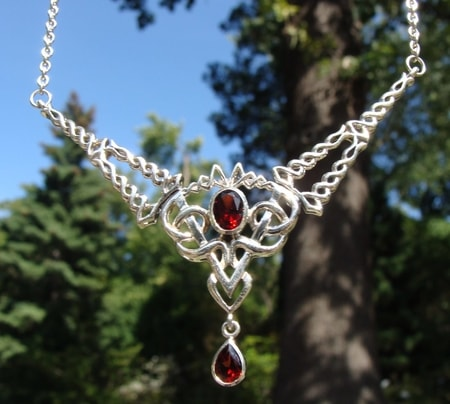 Celtic necklaces sterling silver pagan jewelrz wulflund oberon exclusive large silver necklace with garnets ag 925 15 g aloadofball Image collections