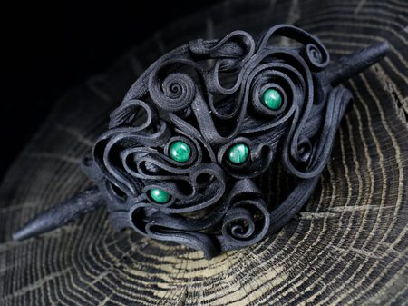 MALACHITE, BROCHE DE CHEVEUX