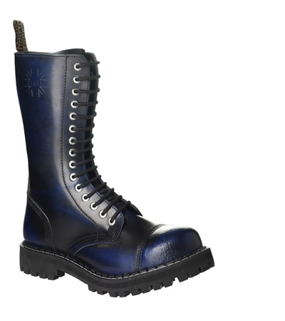 Leather boots STEEL blue 15-eyelet-shoes