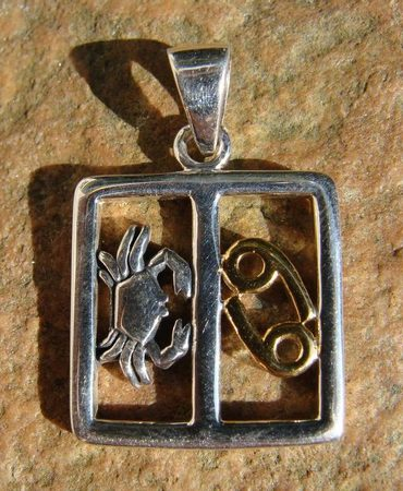 CANCER, The Crab, silver pendant