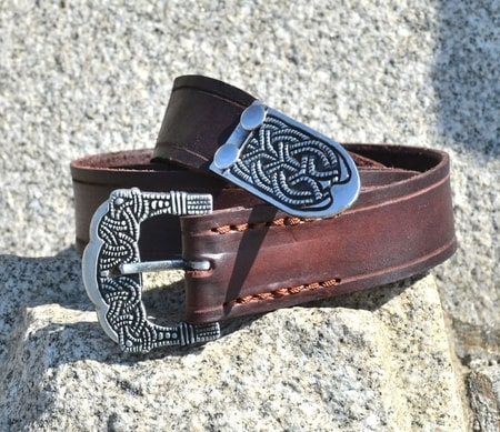 Viking Belt, Gokstad, tin, brown leather