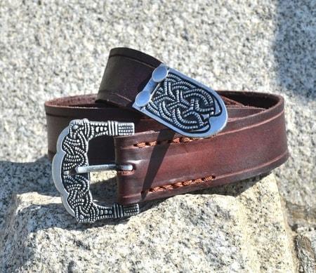 viking belt  gokstad  tin  brown leather