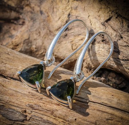 AMBRA, RAW MOLDAVITE EARRINGS, STERLING SILVER