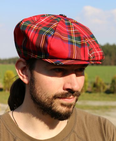 Eight Panel Cap Tartan, red, Ireland