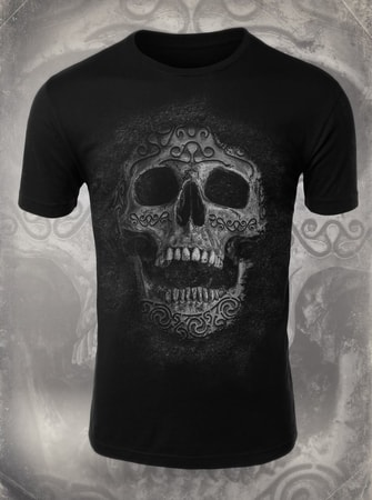CELTIC SKULL, men's T-shirt b&w